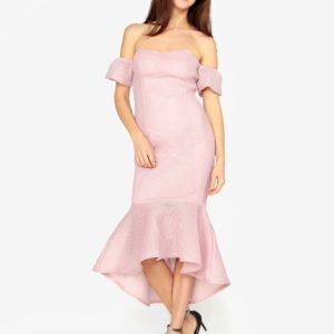 Ružové perforované maxišaty s volánom MISSGUIDED - šaty na stužkovú - saty na stuzkovu - spoločenské šaty na stužkovú - šaty na stužkovú s dlhým rukávom - plesové šaty na stužkovú - princeznovské šaty na stužkovú - tylové šaty na stužkovú - dlhé šaty na stužkovú