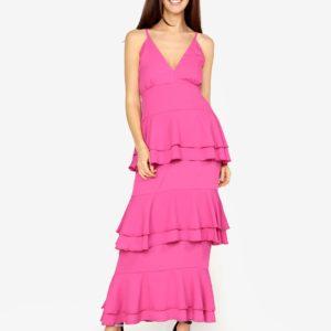 Ružové maxišaty s volánmi MISSGUIDED - šaty na stužkovú - saty na stuzkovu - spoločenské šaty na stužkovú - šaty na stužkovú s dlhým rukávom - plesové šaty na stužkovú - princeznovské šaty na stužkovú - tylové šaty na stužkovú - dlhé šaty na stužkovú
