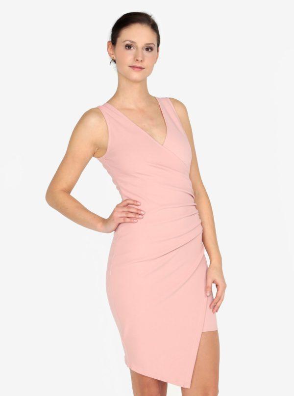 Ružové šaty s prekladaným predným dielom AX Paris - Šaty na stužkovú ružové - saty na stuzkovu - spoločenské šaty na stužkovú - šaty na stužkovú s dlhým rukávom - plesové šaty na stužkovú - princeznovské šaty na stužkovú - tylové šaty na stužkovú - dlhé šaty na stužkovú