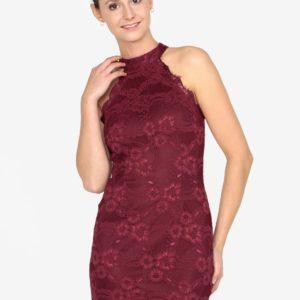 Vínové čipkované minišaty AX Paris - Šaty na stužkovú vínová bordová - saty na stuzkovu - spoločenské šaty na stužkovú - šaty na stužkovú s dlhým rukávom - plesové šaty na stužkovú - princeznovské šaty na stužkovú - tylové šaty na stužkovú - dlhé šaty na stužkovú