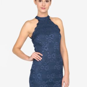 Tmavomodré čipkované minišaty AX Paris - šaty na stužkovú  kráľovská modrá - saty na stuzkovu - spoločenské šaty na stužkovú - šaty na stužkovú s dlhým rukávom - plesové šaty na stužkovú - princeznovské šaty na stužkovú - tylové šaty na stužkovú - dlhé šaty na stužkovú