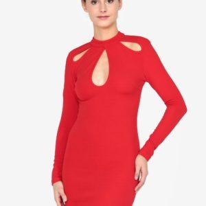 Červené šaty s prestrihmi AX Paris - Červené šaty na stužkovú - saty na stuzkovu - spoločenské šaty na stužkovú - šaty na stužkovú s dlhým rukávom - plesové šaty na stužkovú - princeznovské šaty na stužkovú - tylové šaty na stužkovú - dlhé šaty na stužkovú
