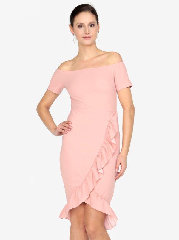 Staroružové šaty s odhalenými ramenami AX Paris - Šaty na stužkovú ružové - saty na stuzkovu - spoločenské šaty na stužkovú - šaty na stužkovú s dlhým rukávom - plesové šaty na stužkovú - princeznovské šaty na stužkovú - tylové šaty na stužkovú - dlhé šaty na stužkovú