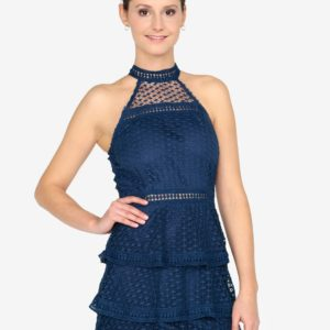 Tmavomodré šaty bez rukávov AX Paris - šaty na stužkovú  kráľovská modrá - saty na stuzkovu - spoločenské šaty na stužkovú - šaty na stužkovú s dlhým rukávom - plesové šaty na stužkovú - princeznovské šaty na stužkovú - tylové šaty na stužkovú - dlhé šaty na stužkovú
