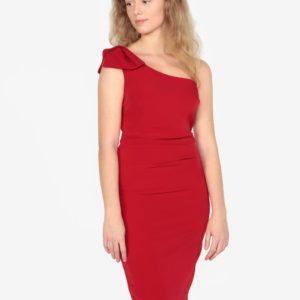 Červené asymetrické puzdrové šaty Oasis Lolita - Červené šaty na stužkovú - saty na stuzkovu - spoločenské šaty na stužkovú - šaty na stužkovú s dlhým rukávom - plesové šaty na stužkovú - princeznovské šaty na stužkovú - tylové šaty na stužkovú - dlhé šaty na stužkovú