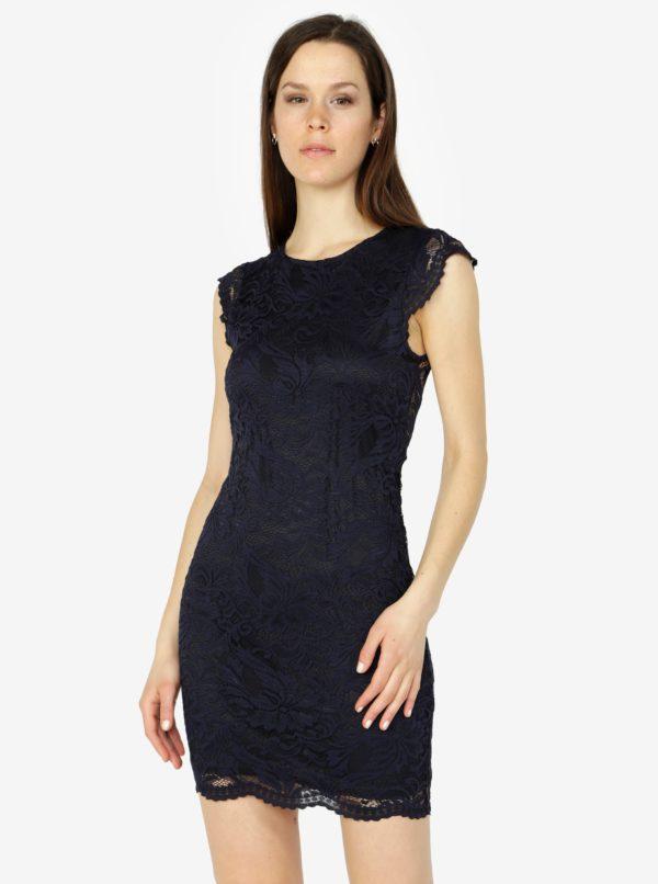 Tmavomodré čipkované šaty VERO MODA Sandra - šaty na stužkovú  kráľovská modrá - saty na stuzkovu - spoločenské šaty na stužkovú - šaty na stužkovú s dlhým rukávom - plesové šaty na stužkovú - princeznovské šaty na stužkovú - tylové šaty na stužkovú - dlhé šaty na stužkovú