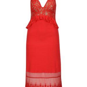 Červené midišaty s čipkovanými detailmi French Connection Delos - Červené šaty na stužkovú - saty na stuzkovu - spoločenské šaty na stužkovú - šaty na stužkovú s dlhým rukávom - plesové šaty na stužkovú - princeznovské šaty na stužkovú - tylové šaty na stužkovú - dlhé šaty na stužkovú
