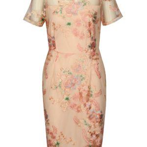 Ružové puzdrové šaty s výšivkou Dorothy Pekrins - Šaty na stužkovú ružové - saty na stuzkovu - spoločenské šaty na stužkovú - šaty na stužkovú s dlhým rukávom - plesové šaty na stužkovú - princeznovské šaty na stužkovú - tylové šaty na stužkovú - dlhé šaty na stužkovú
