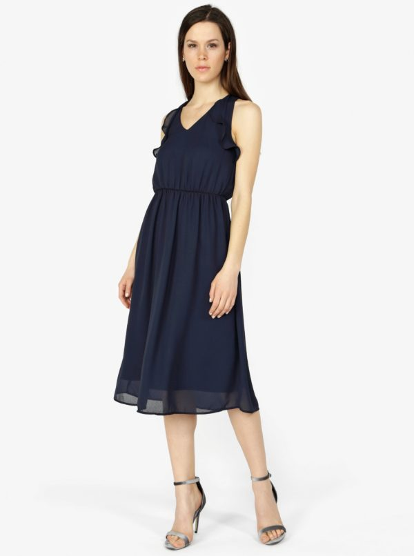 Tmavomodré šaty s volánmi VERO MODA Iris - šaty na stužkovú  kráľovská modrá - saty na stuzkovu - spoločenské šaty na stužkovú - šaty na stužkovú s dlhým rukávom - plesové šaty na stužkovú - princeznovské šaty na stužkovú - tylové šaty na stužkovú - dlhé šaty na stužkovú
