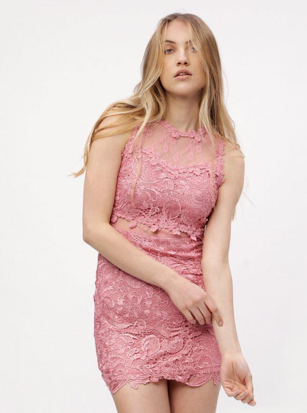 Ružové čipkované šaty MISSGUIDED - Šaty na stužkovú ružové - saty na stuzkovu - spoločenské šaty na stužkovú - šaty na stužkovú s dlhým rukávom - plesové šaty na stužkovú - princeznovské šaty na stužkovú - tylové šaty na stužkovú - dlhé šaty na stužkovú