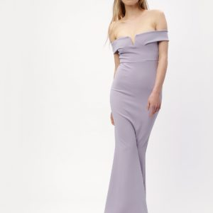 Svetlofialové dlhé šaty s odhalenými ramenami MISSGUIDED - Šaty na stužkovú fialové - saty na stuzkovu - spoločenské šaty na stužkovú - šaty na stužkovú s dlhým rukávom - plesové šaty na stužkovú - princeznovské šaty na stužkovú - tylové šaty na stužkovú - dlhé šaty na stužkovú