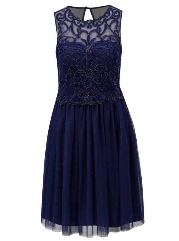 Tmavomodré šaty s tylovou sukňou Little Mistress - šaty na stužkovú  kráľovská modrá - saty na stuzkovu - spoločenské šaty na stužkovú - šaty na stužkovú s dlhým rukávom - plesové šaty na stužkovú - princeznovské šaty na stužkovú - tylové šaty na stužkovú - dlhé šaty na stužkovú