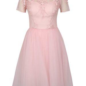 Ružové šaty Chi Chi London Krizia - Šaty na stužkovú ružové - saty na stuzkovu - spoločenské šaty na stužkovú - šaty na stužkovú s dlhým rukávom - plesové šaty na stužkovú - princeznovské šaty na stužkovú - tylové šaty na stužkovú - dlhé šaty na stužkovú