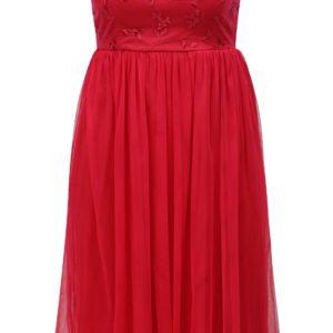 Tmavoružové tylové šaty s prestrihom na chrbte ONLY Juhlia - Šaty na stužkovú ružové - saty na stuzkovu - spoločenské šaty na stužkovú - šaty na stužkovú s dlhým rukávom - plesové šaty na stužkovú - princeznovské šaty na stužkovú - tylové šaty na stužkovú - dlhé šaty na stužkovú