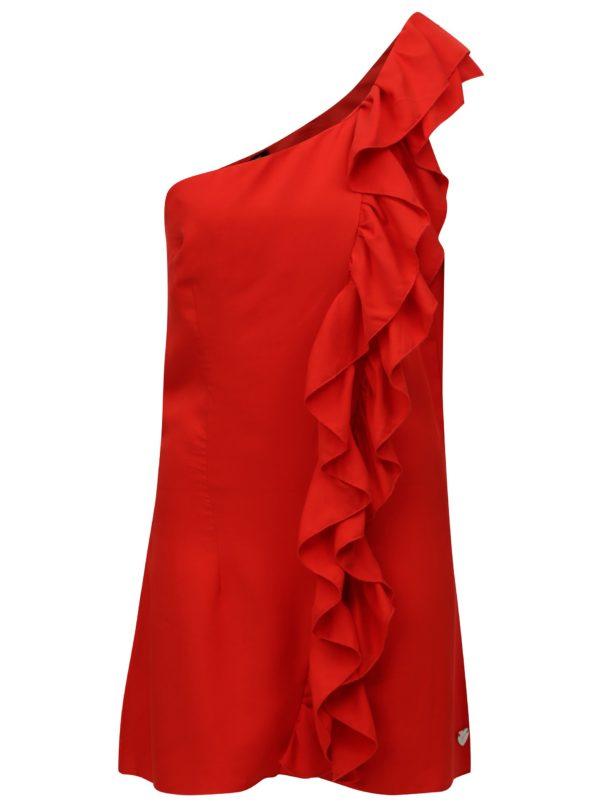 Červené šaty cez jedno rameno s volánom Fornarina Leila - Červené šaty na stužkovú - saty na stuzkovu - spoločenské šaty na stužkovú - šaty na stužkovú s dlhým rukávom - plesové šaty na stužkovú - princeznovské šaty na stužkovú - tylové šaty na stužkovú - dlhé šaty na stužkovú