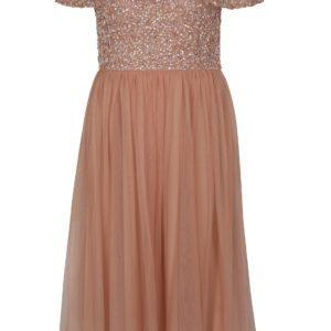 Staroružové šaty s odhalenými ramenami a ozdobnými flitrami Dorothy Perkins - Šaty na stužkovú ružové - saty na stuzkovu - spoločenské šaty na stužkovú - šaty na stužkovú s dlhým rukávom - plesové šaty na stužkovú - princeznovské šaty na stužkovú - tylové šaty na stužkovú - dlhé šaty na stužkovú