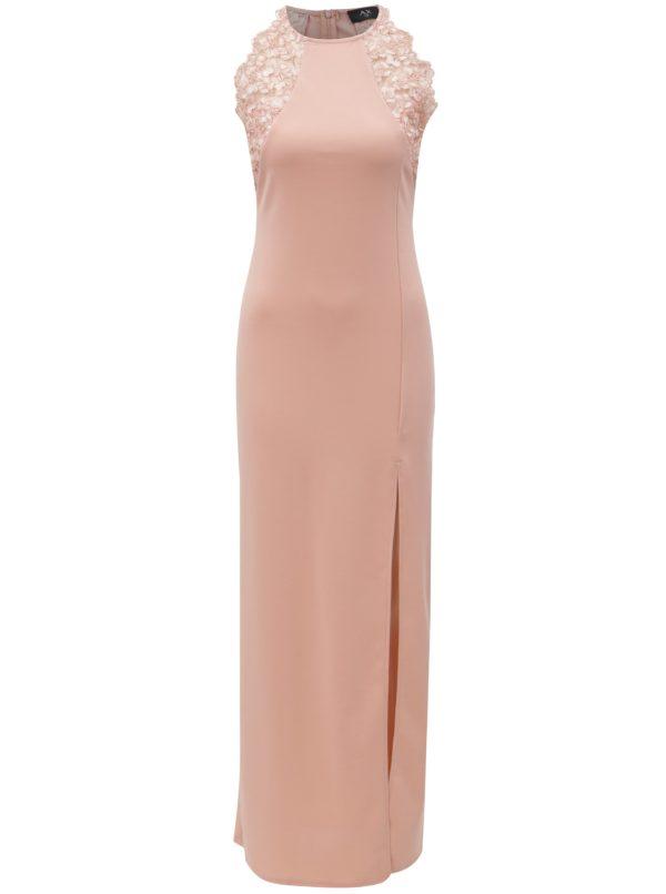 Svetloružové maxišaty s čipkou a rozparkom AX Paris - šaty na stužkovú - saty na stuzkovu - spoločenské šaty na stužkovú - šaty na stužkovú s dlhým rukávom - plesové šaty na stužkovú - princeznovské šaty na stužkovú - tylové šaty na stužkovú - dlhé šaty na stužkovú