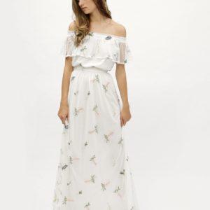 Biele kvetované maxišaty s odhalenými ramenami Dorothy Perkins - šaty na stužkovú - saty na stuzkovu - spoločenské šaty na stužkovú - šaty na stužkovú s dlhým rukávom - plesové šaty na stužkovú - princeznovské šaty na stužkovú - tylové šaty na stužkovú - dlhé šaty na stužkovú