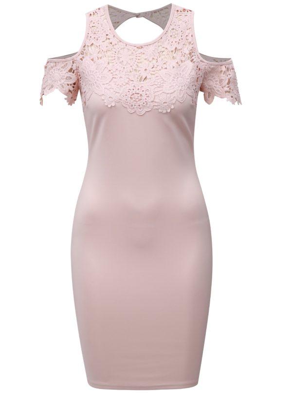 Svetloružové puzdrové šaty s čipkou a prestrihmi na ramenách AX Paris - Šaty na stužkovú ružové - saty na stuzkovu - spoločenské šaty na stužkovú - šaty na stužkovú s dlhým rukávom - plesové šaty na stužkovú - princeznovské šaty na stužkovú - tylové šaty na stužkovú - dlhé šaty na stužkovú