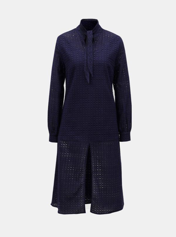 Tmavomodré šaty s madeirou a rozparkom v prednej časti ELVI - šaty na stužkovú  kráľovská modrá - saty na stuzkovu - spoločenské šaty na stužkovú - šaty na stužkovú s dlhým rukávom - plesové šaty na stužkovú - princeznovské šaty na stužkovú - tylové šaty na stužkovú - dlhé šaty na stužkovú