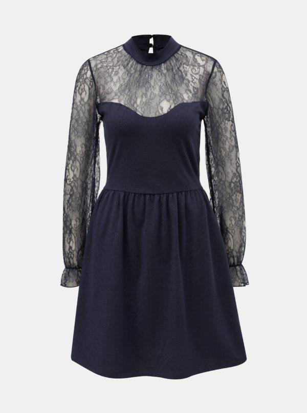 Tmavomodré šaty s čipkou ONLY Lucca - šaty na stužkovú  kráľovská modrá - saty na stuzkovu - spoločenské šaty na stužkovú - šaty na stužkovú s dlhým rukávom - plesové šaty na stužkovú - princeznovské šaty na stužkovú - tylové šaty na stužkovú - dlhé šaty na stužkovú