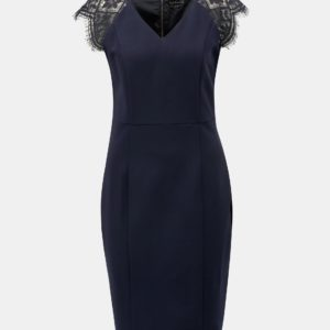 Tmavomodré puzdrové šaty s čipkou Smashed Lemon - šaty na stužkovú  kráľovská modrá - saty na stuzkovu - spoločenské šaty na stužkovú - šaty na stužkovú s dlhým rukávom - plesové šaty na stužkovú - princeznovské šaty na stužkovú - tylové šaty na stužkovú - dlhé šaty na stužkovú