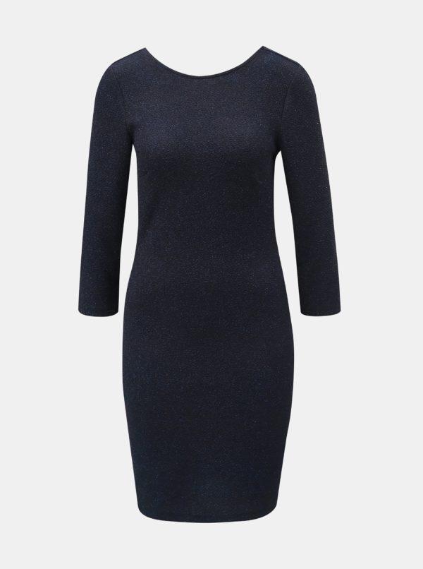 Tmavomodré trblietavé puzdrové šaty s 3/4 rukávom Jacqueline de Yong - šaty na stužkovú  kráľovská modrá - saty na stuzkovu - spoločenské šaty na stužkovú - šaty na stužkovú s dlhým rukávom - plesové šaty na stužkovú - princeznovské šaty na stužkovú - tylové šaty na stužkovú - dlhé šaty na stužkovú