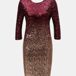 Vínové flitrované šaty s ombré efektom a 3/4 rukávom Dorothy Perkins - Šaty na stužkovú vínová bordová - saty na stuzkovu - spoločenské šaty na stužkovú - šaty na stužkovú s dlhým rukávom - plesové šaty na stužkovú - princeznovské šaty na stužkovú - tylové šaty na stužkovú - dlhé šaty na stužkovú