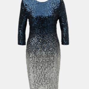 Tmavomodré flitrované šaty s ombré efektom a 3/4 rukávom Dorothy Perkins - šaty na stužkovú  kráľovská modrá - saty na stuzkovu - spoločenské šaty na stužkovú - šaty na stužkovú s dlhým rukávom - plesové šaty na stužkovú - princeznovské šaty na stužkovú - tylové šaty na stužkovú - dlhé šaty na stužkovú
