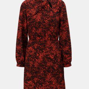 Čierno–červené šaty s leopardím vzorom Dorothy Perkins - Červené šaty na stužkovú - saty na stuzkovu - spoločenské šaty na stužkovú - šaty na stužkovú s dlhým rukávom - plesové šaty na stužkovú - princeznovské šaty na stužkovú - tylové šaty na stužkovú - dlhé šaty na stužkovú