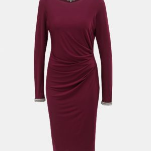 Vínové šaty s riasením na boku Billie & Blossom by Dorothy Perkins Tall - Šaty na stužkovú vínová bordová - saty na stuzkovu - spoločenské šaty na stužkovú - šaty na stužkovú s dlhým rukávom - plesové šaty na stužkovú - princeznovské šaty na stužkovú - tylové šaty na stužkovú - dlhé šaty na stužkovú