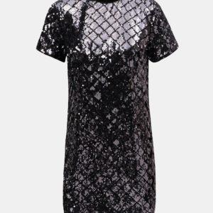 Fialové flitrované kockované minišaty Dorothy Perkins Petite - Šaty na stužkovú fialové - saty na stuzkovu - spoločenské šaty na stužkovú - šaty na stužkovú s dlhým rukávom - plesové šaty na stužkovú - princeznovské šaty na stužkovú - tylové šaty na stužkovú - dlhé šaty na stužkovú