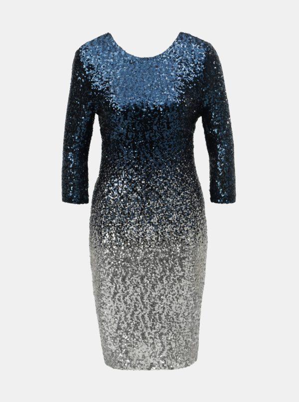 Tmavomodré flitrované šaty s ombré efektom Dorothy Perkins Petite - šaty na stužkovú  kráľovská modrá - saty na stuzkovu - spoločenské šaty na stužkovú - šaty na stužkovú s dlhým rukávom - plesové šaty na stužkovú - princeznovské šaty na stužkovú - tylové šaty na stužkovú - dlhé šaty na stužkovú
