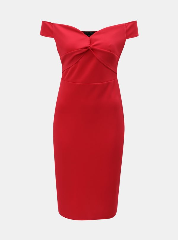 Červené šaty s odhalenými ramenami Dorothy Perkins - Červené šaty na stužkovú - saty na stuzkovu - spoločenské šaty na stužkovú - šaty na stužkovú s dlhým rukávom - plesové šaty na stužkovú - princeznovské šaty na stužkovú - tylové šaty na stužkovú - dlhé šaty na stužkovú