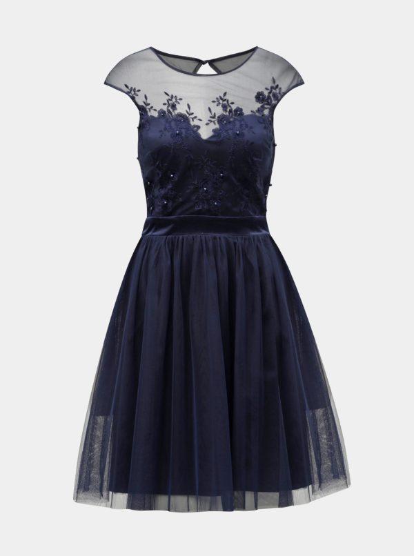 Tmavomodré šaty s výšivkou Dorothy Perkins - šaty na stužkovú  kráľovská modrá - saty na stuzkovu - spoločenské šaty na stužkovú - šaty na stužkovú s dlhým rukávom - plesové šaty na stužkovú - princeznovské šaty na stužkovú - tylové šaty na stužkovú - dlhé šaty na stužkovú