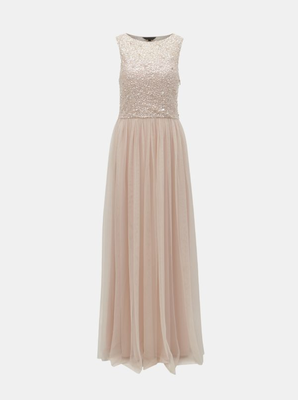 Svetloružové šaty s flitrami Dorothy Perkins - Šaty na stužkovú ružové - saty na stuzkovu - spoločenské šaty na stužkovú - šaty na stužkovú s dlhým rukávom - plesové šaty na stužkovú - princeznovské šaty na stužkovú - tylové šaty na stužkovú - dlhé šaty na stužkovú