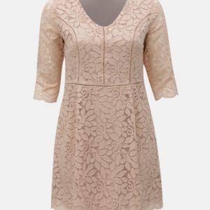 Ružové čipkované šaty ONLY CARMAKOMA Samant - Šaty na stužkovú ružové - saty na stuzkovu - spoločenské šaty na stužkovú - šaty na stužkovú s dlhým rukávom - plesové šaty na stužkovú - princeznovské šaty na stužkovú - tylové šaty na stužkovú - dlhé šaty na stužkovú