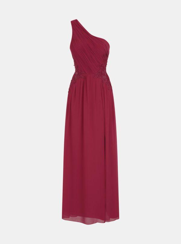 Vínové šaty s čipkou na bokoch Little Mistress - Šaty na stužkovú vínová bordová - saty na stuzkovu - spoločenské šaty na stužkovú - šaty na stužkovú s dlhým rukávom - plesové šaty na stužkovú - princeznovské šaty na stužkovú - tylové šaty na stužkovú - dlhé šaty na stužkovú