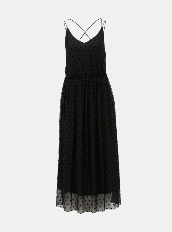 Čierne bodkované tylové maxišaty VILA Mindy - šaty na stužkovú - saty na stuzkovu - spoločenské šaty na stužkovú - šaty na stužkovú s dlhým rukávom - plesové šaty na stužkovú - princeznovské šaty na stužkovú - tylové šaty na stužkovú - dlhé šaty na stužkovú