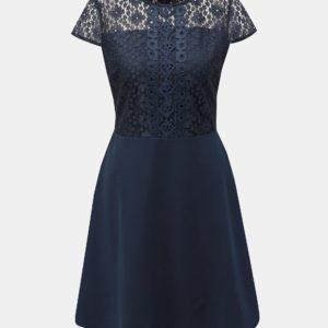 Tmavomodré šaty s čipkou Dorothy Perkins - šaty na stužkovú  kráľovská modrá - saty na stuzkovu - spoločenské šaty na stužkovú - šaty na stužkovú s dlhým rukávom - plesové šaty na stužkovú - princeznovské šaty na stužkovú - tylové šaty na stužkovú - dlhé šaty na stužkovú