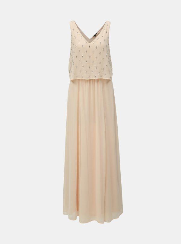 Svetloružové maxišaty s korálkami Dorothy Perkins - šaty na stužkovú - saty na stuzkovu - spoločenské šaty na stužkovú - šaty na stužkovú s dlhým rukávom - plesové šaty na stužkovú - princeznovské šaty na stužkovú - tylové šaty na stužkovú - dlhé šaty na stužkovú