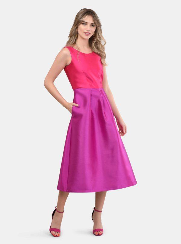 Ružovo–fialové midišaty Closet - Šaty na stužkovú ružové - saty na stuzkovu - spoločenské šaty na stužkovú - šaty na stužkovú s dlhým rukávom - plesové šaty na stužkovú - princeznovské šaty na stužkovú - tylové šaty na stužkovú - dlhé šaty na stužkovú