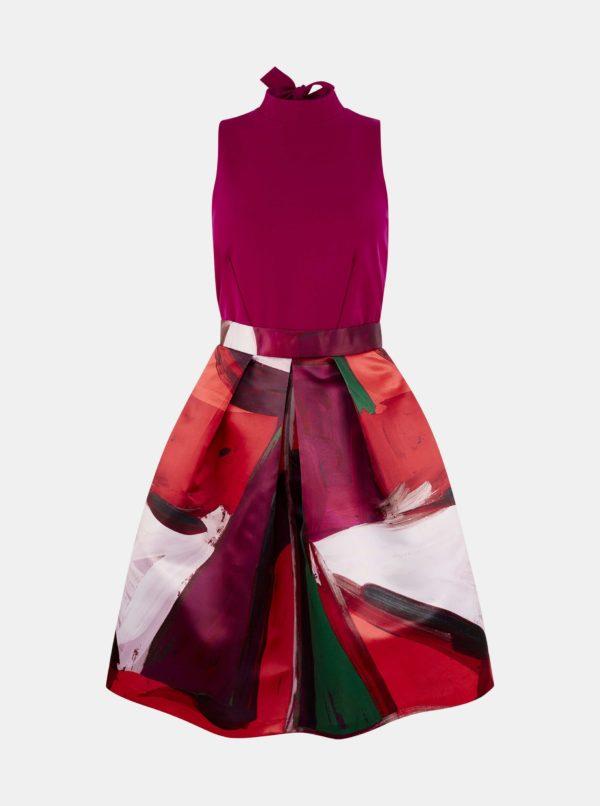 Fialové vzorované šaty Closet - Šaty na stužkovú fialové - saty na stuzkovu - spoločenské šaty na stužkovú - šaty na stužkovú s dlhým rukávom - plesové šaty na stužkovú - princeznovské šaty na stužkovú - tylové šaty na stužkovú - dlhé šaty na stužkovú