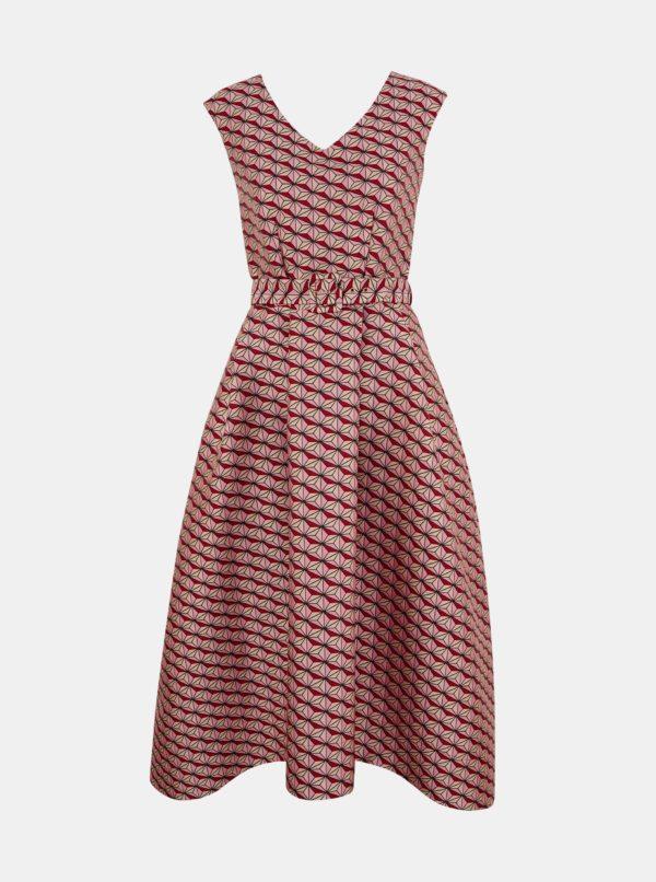 Ružové vzorované šaty Closet - Šaty na stužkovú ružové - saty na stuzkovu - spoločenské šaty na stužkovú - šaty na stužkovú s dlhým rukávom - plesové šaty na stužkovú - princeznovské šaty na stužkovú - tylové šaty na stužkovú - dlhé šaty na stužkovú