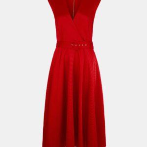 Červené rebrované šaty Closet - Červené šaty na stužkovú - saty na stuzkovu - spoločenské šaty na stužkovú - šaty na stužkovú s dlhým rukávom - plesové šaty na stužkovú - princeznovské šaty na stužkovú - tylové šaty na stužkovú - dlhé šaty na stužkovú