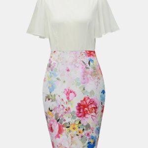 Bielo–ružové kvetované puzdrové šaty Dorothy Perkins - Šaty na stužkovú ružové - saty na stuzkovu - spoločenské šaty na stužkovú - šaty na stužkovú s dlhým rukávom - plesové šaty na stužkovú - princeznovské šaty na stužkovú - tylové šaty na stužkovú - dlhé šaty na stužkovú