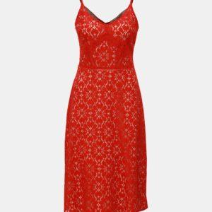 Červené čipkované šaty na ramienka Dorothy Perkins - Červené šaty na stužkovú - saty na stuzkovu - spoločenské šaty na stužkovú - šaty na stužkovú s dlhým rukávom - plesové šaty na stužkovú - princeznovské šaty na stužkovú - tylové šaty na stužkovú - dlhé šaty na stužkovú