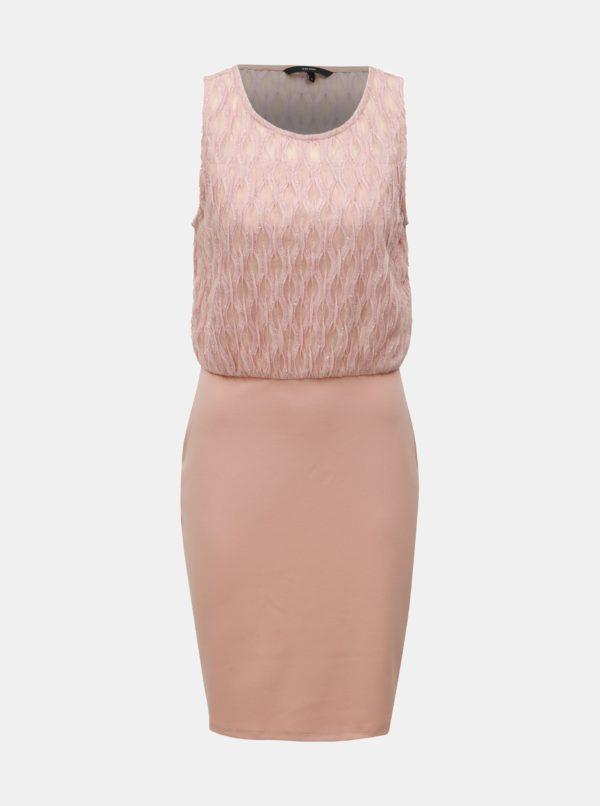Svetloružové puzdrové šaty VERO MODA Shanie - Šaty na stužkovú ružové - saty na stuzkovu - spoločenské šaty na stužkovú - šaty na stužkovú s dlhým rukávom - plesové šaty na stužkovú - princeznovské šaty na stužkovú - tylové šaty na stužkovú - dlhé šaty na stužkovú