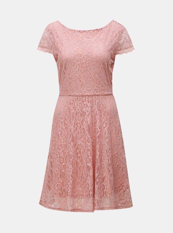 Staroružové čipkované šaty VERO MODA Sassa - Šaty na stužkovú ružové - saty na stuzkovu - spoločenské šaty na stužkovú - šaty na stužkovú s dlhým rukávom - plesové šaty na stužkovú - princeznovské šaty na stužkovú - tylové šaty na stužkovú - dlhé šaty na stužkovú