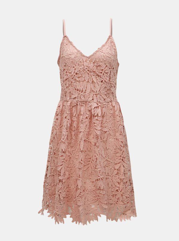 Staroružové čipkované šaty na ramienka VERO MODA Luna - Šaty na stužkovú ružové - saty na stuzkovu - spoločenské šaty na stužkovú - šaty na stužkovú s dlhým rukávom - plesové šaty na stužkovú - princeznovské šaty na stužkovú - tylové šaty na stužkovú - dlhé šaty na stužkovú